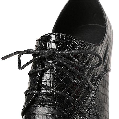 Neuf Sept Femmes En Cuir Véritable Bout Pointu Stiletto Talon Lacer Jusquà La Main Chaussures De Confort Mignon Chaussures Noir