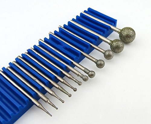 13 Pcs 2.35mm(3/32'') Shank Diamond Grinding Head Mounted Burr Point Set F Needle for Jade, Jewelry, Stone, Ceramic Grinding/ Carving/ Polishing