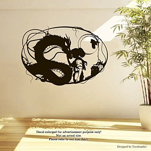 (Manga Anime Spirited Away Wall Decals Chihiro Ogino And Haku Spirit Of The Kohaku River Stickers Decorative Design Ideas For Your Home or Office Walls Removable Vinyl Murals EC-1090)