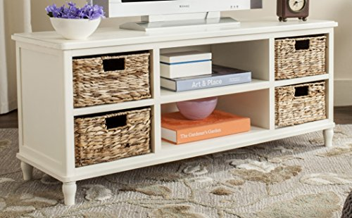 Safavieh American Homes Collection Rooney Distressed White Entertainment Unit (Distressed Basket White)