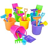 1 Dozen Mini Beach Sand Pail Playsets- Beach Toys 12 Buckets, Shovels, Rakes, and Scoops - Bulk Party Pack for Pool or Beach Party Favors By Neliblu