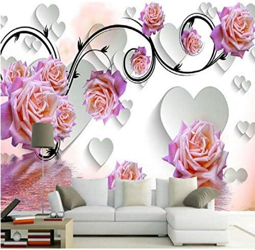 YWWZ&N ファンタジーローズフラワーリフレクション3D大壁画壁紙寝室リビングルームテレビ背景絵画三次元壁紙