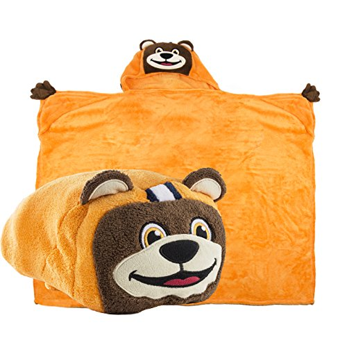 Comfy Critters Stuffed Animal Blanket - College Mascot, University of Illinois - Kids Huggable Pillow and Blanket Perfect for The Big Game, Tailgating, Pretend Play, Travel, and Much More