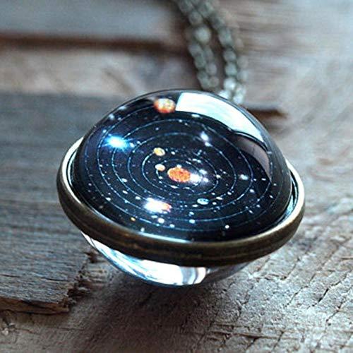 NIHAI Spherical Universe Necklace- Fantasy Star Gemstone Pendant Jewelry Accessories for Birthday Friendship Valentine's Day Gift