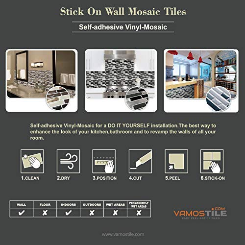 "Vamos Tile Premium Peel and Stick Tile Backsplash,Stick On Backsplash Wall Tiles for Kitchen & Bathroom-Self Adhesive-10.62"" x 10"" (6 Sheets)"
