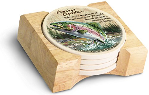 (American Expedition Set of 4 Stone Coasters (Rainbow Trout))
