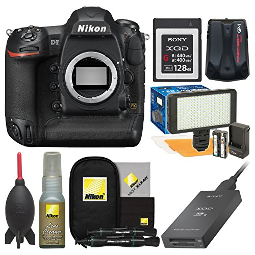 Nikon D5 Digital SLR Camera Body (Dual XQD Slots) with 128GB Card + Reader + Video Light Set + GPS Adapter + Cleaning Kit