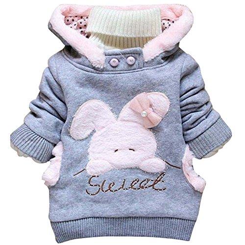 Lemonkids® Kids Girls Winter Cartoon Warm Hoodies Pullover Tops Sweatshirt Gray 110cm/US - Hoodie Gray Iconic