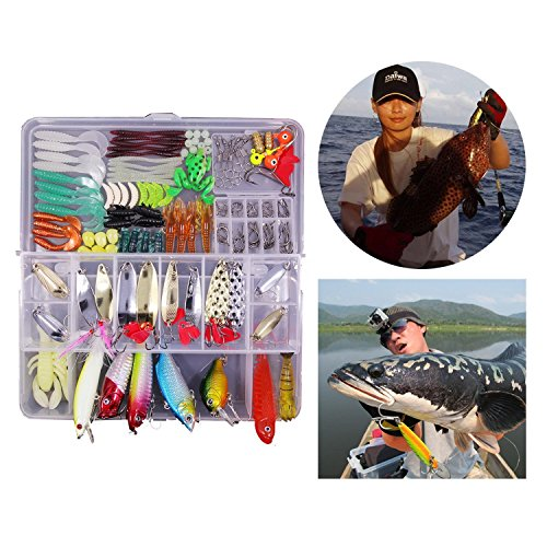 Fishing Lures Baits Tackle Kit – Blinbling Saltwater Freshwater Fishing Lure Bait Kit Including Spinnerbaits, Plastic worms, Frog, Jigs, Topwater Lures, Tackle Box and More Fishing Gear Lures Kit Set