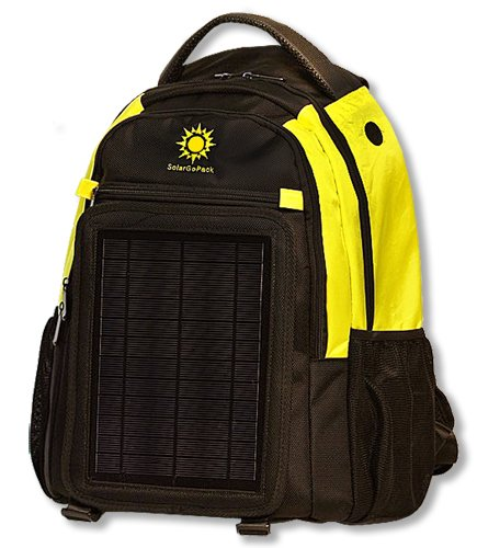 Price comparison product image SolarGoPack 12k, solar powered backpack, charge mobile devices, Take Your Power with You, 12,000 mAh Lithium Ion Battery - Stay Charged My Friends !! - Yellow