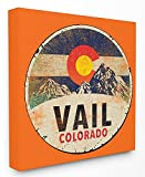 Stupell Home Décor Vail Colorado Vintage Sign Stretched Canvas Wall Art, 24 x 1.5 x 24, Proudly Made in USA