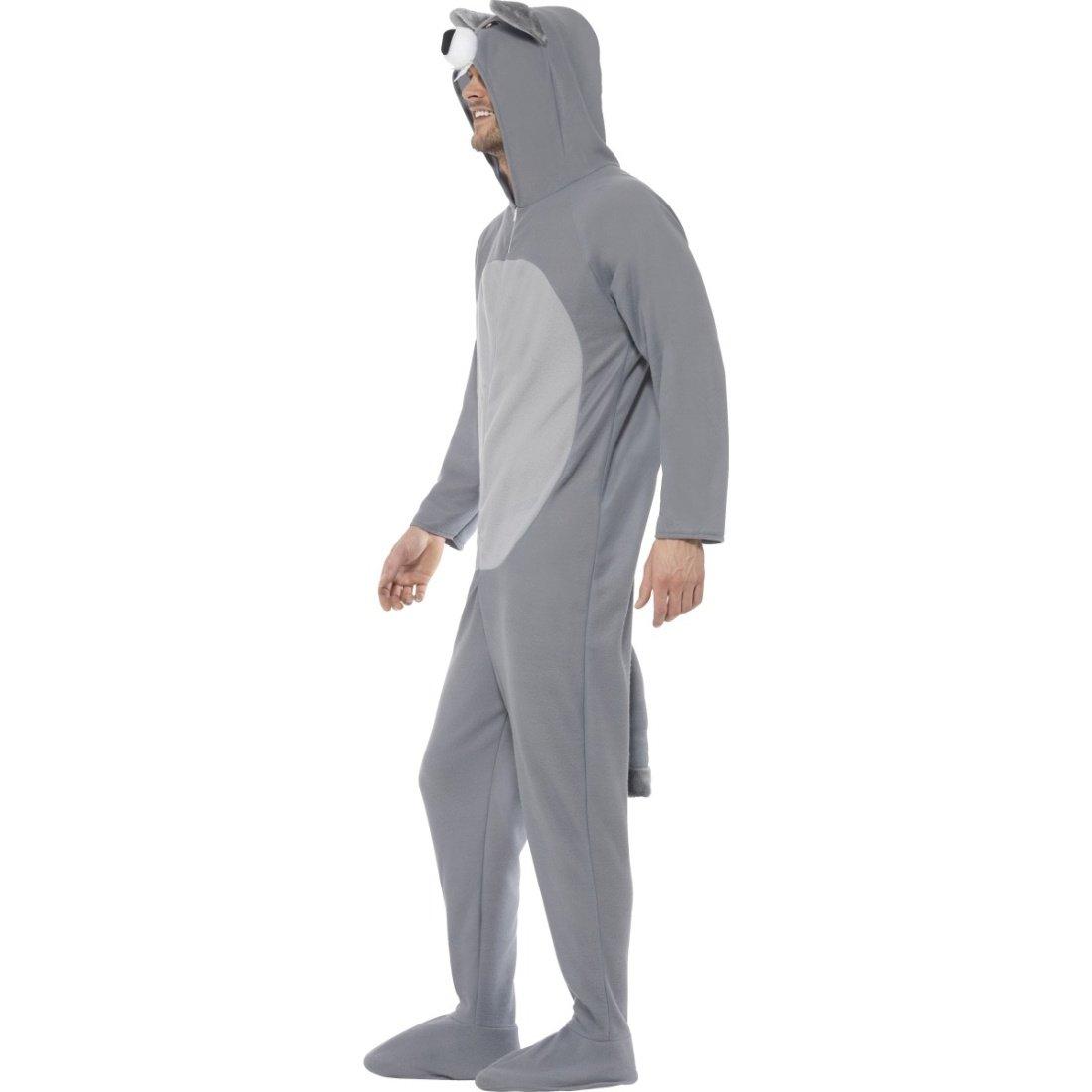 Grau-weißes Wolfkostüm Jumpsuit Wolf L Ganzkörperkostüm Tierkostüm Wolfsfell