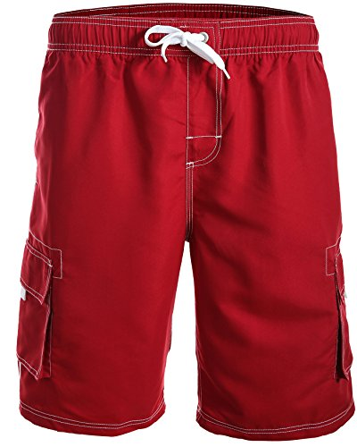 Herren Boardshorts / Badeshorts / Badehose / Hibiskus / Surfen / Lässig / Sommer / Strand 1214-f5150 Farbe: Rot, Gr. L