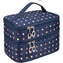 Small Double Layer Traveling Makeup Bag Small Dots Travel Toiletry Cosmetic Bag with Mirror Small size(Dark Blue)