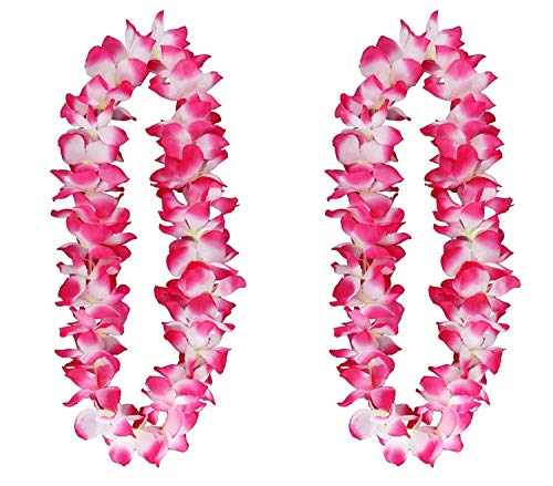 12 Pack of Pink Tropical Flower Lei Flower Leaves Garland Banner For Hawaiian Luau Decorations/Party -