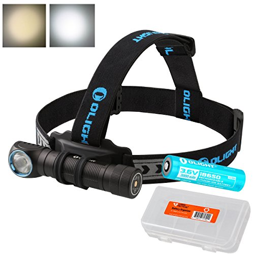 OLIGHT H2R Nova 2000 Lumens LED Rechargeable Headlamp - Available in Neutral White or Cool White LED & LumenTac Battery Organizer (Neutral White) by OLIGHT