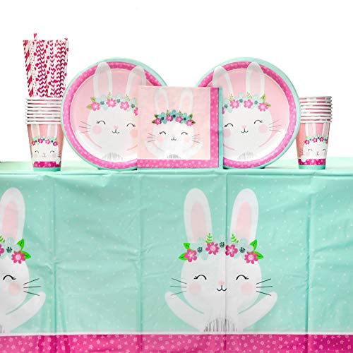 Birthday Bunny Supplies Pack for 16 Guests Including Paper Cups, Paper Dinner Plates, Paper Lunch Napkins, Paper Straws, and Plastic Table Cover (Bundle for 16)