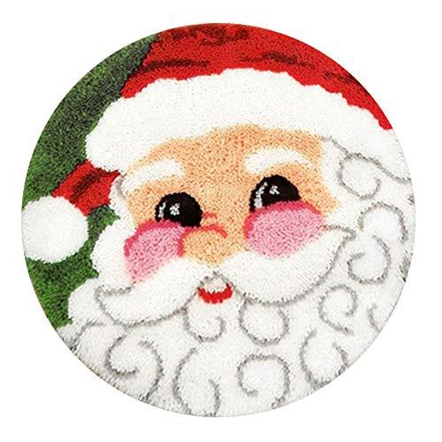 MLADEN Latch Hook Kits DIY Tools Crocheting Rug Christmas Shaggy Decoration Family Gift and Activity 20″ X 20″ (Santa)
