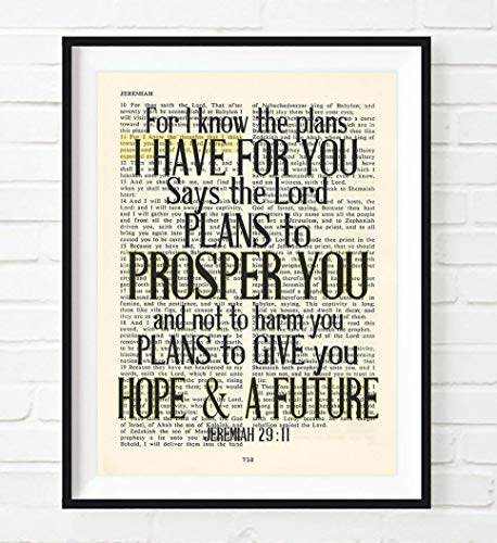 (For I know the plans I have for you - Jeremiah 29:11 Christian UNFRAMED reproduction Art PRINT, Vintage Bible verse scripture wall & home decor poster, Inspirational gift, 8x10 inches)