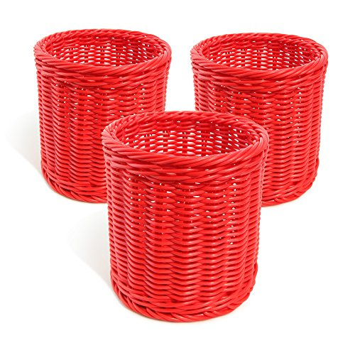 Colorbasket 31109-108 Hand Woven Waterproof Utensil Basket, Red, Set of 3