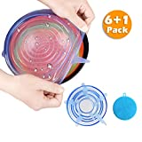 six-qu Silicone Storage Covers, 6-Pack of Various Sizes Silicone Stretch Lids for Can, Jar, Glassware, Food Saver Covers Safe in Dishwasher, Microwave and Freezer(Blue) ¡