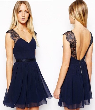9e8e74289919 Summer Sexy Lace Halter Neck Chiffon Dress Backless Blue Girl Dress:  Amazon.in: Clothing & Accessories