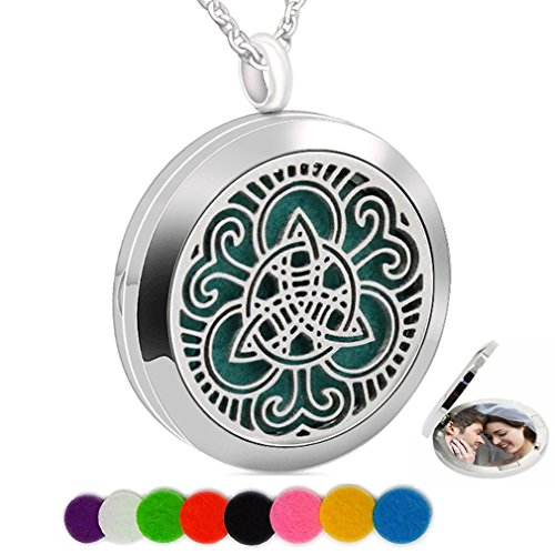 Chaomingzhen Essential Oil Necklace Fragrance Aromatherapy Diffuser Refill Pad Celtic Photo Locket Pendant Teen Girls
