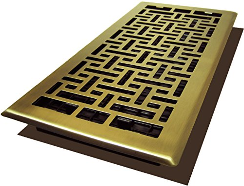 Decor Grates AJH614-A Oriental Floor Register, 6-Inch by 14-Inch, Antique Brass