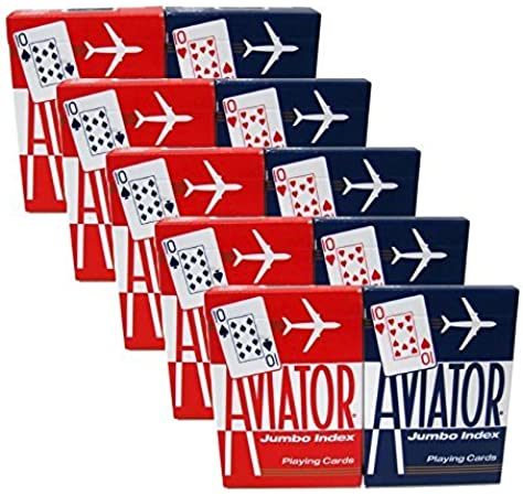 5 Red Decks and 5 Blue Decks Aviator Standard Index Playing Cards