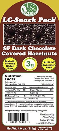 Dark Chocolate Covered Hazelnuts with Erythritol (6 Pack) - LC Foods - Low Carb - All Natural - Paleo - Gluten Free - No Sugar - Diabetic Friendly - 4 oz Each