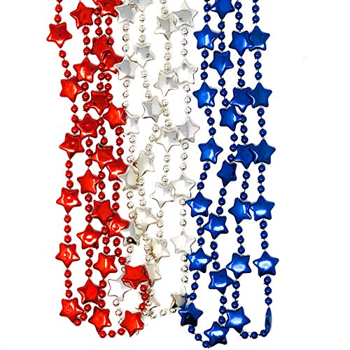 48 Metallic Patriotic Star Necklaces - 4th of July, Memorial Day, Party Favor or Decoration
