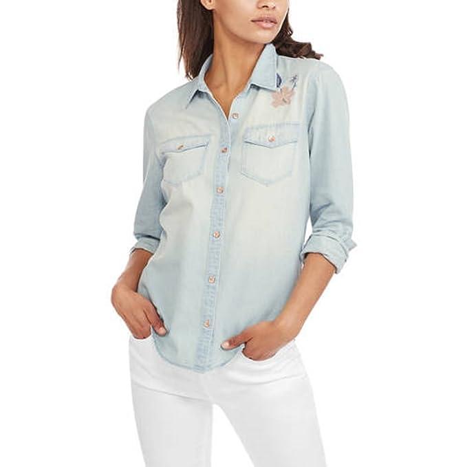 c1b188bb1c73f Faded Glory Women s Denim Boyfriend Woven Button Down Shirt (Medium ...