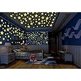 100pcs DIY Colorido pegatinas de pared calcomanía forma de estrella luminosa fluorescente brillan en la oscuridad del bebé habitación de los niños de la etiqueta Estrellas Decoración,color mezclado(3 cm)