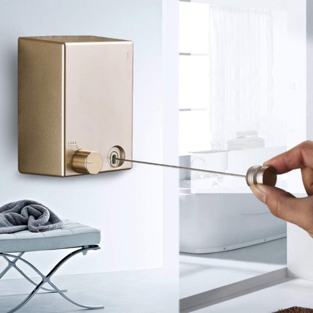 tendedero de Secado de Servicio Pesado con Cuerda Doble de Acero Inoxidable Ajustable para balc/ón y ba/ño HERCHR Tendedero Interior retr/áctil Blanco