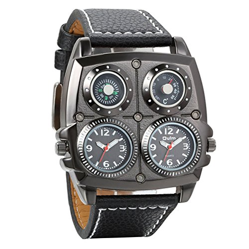 Watch Casual Face Square - Avaner Mens Punk Unique Big Face Analog Dual Time Quartz Business Casual Watch with Decorative Compass and Thermometer Dial Black Leather Strap