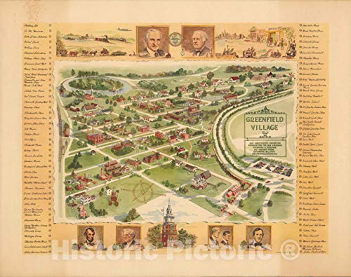 Historic Map   Greenfield Village : an outdoor museum 1951   Vintage Wall Art   30in x 24in