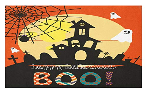 (Lunarable Halloween Doormat, Haunted House with Cat Tombstones Ghosts and Spider Webs Happy Halloween Boo, Decorative Polyester Floor Mat with Non-Skid Backing,30