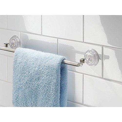InterDesign InterDesign Reo Power Lock Suction Towel Bar - Shower Tiles or Glass, Stainless Steel