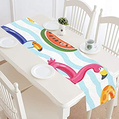 XiexHOME - Camino de mesa para niños, diseño de unicornio brillante o flamencos en la piscina, camino de mesa de café, juego de mesa pequeña, decoración de 16 x 72 pulgadas para
