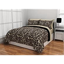 5 Piece Brushstroke Cheetah Design Bed In A Bag Set Twin XL Size, Featuring Animal Inspired Print Reversible Comfortable Bedding, Contemporary Stylish Wildlife Theme Bedroom Decoration, Black, Brown