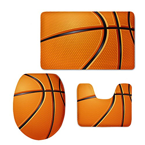 CHAQLIN Comfort Basketball Pattern 3 Piece Anti Skid Soft Bath Mat Set with Rug/Contour/Lid Cover