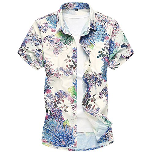 3 assortiti Shirt Allthemen Short Colori Hawaiian Sleeve Blu print Hawaiian 0wz7qHwO