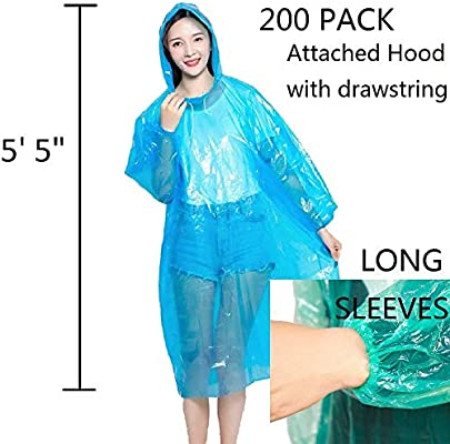 Lepilion Poncho One Size Fit Most with Hood 10 Per Pack Choose Multi Color or Single Color