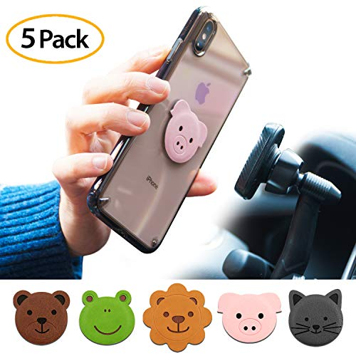 acter Metal Plate Kit - Animal Edition (5 Pack, 1 Each) with 3M Adhesive Pad Compatible with Magnet Phone Car Mount Holder for Smartphone, iPad, Tablet, and Other Devices ()