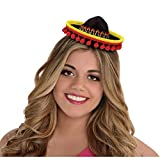 "Cinco De Mayo Fiesta Party Black Spanish Hat With Red Ball Fringe Headband Accessories, Plastic, 8"" x 6"""