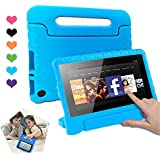 CAM-ULATA Compatible with Amazon Fire 7 Tablet Case for Kids 2017 2015 Shockproof Kid Proof with Handle Kindle 7th 5th Generation Cover 7 inch Blue