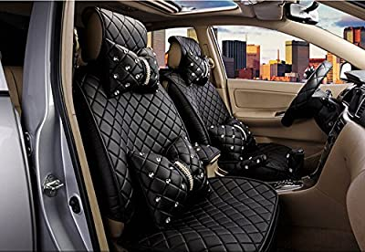 18pc superior quality luxury black Seat Covers imitation leather Seating Universal Full Set car seat cover Easy to install Fit Most Car