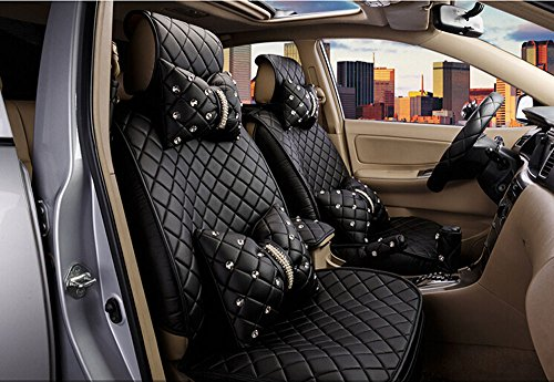 18pc superior quality luxury black Seat Covers imitation leather Seating Universal Full Set car seat cover Easy to install Fit Most Car by Maimai88 (Image #4)