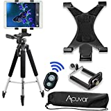 "Acuvar 57"" inch Pro Series Tripod, Acuvar Tablet Mount + Universal Smartphone Mount + Wireless Remote for All Smartphone and Tablet Devices"