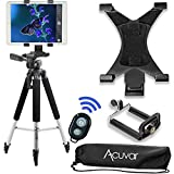"Photo : Acuvar 57"" inch Pro Series Tripod, Acuvar Tablet Mount + Universal Smartphone Mount + Wireless Remote for All Smartphone and tablet devices"